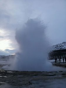The best shot I could get of Geysir exploding!