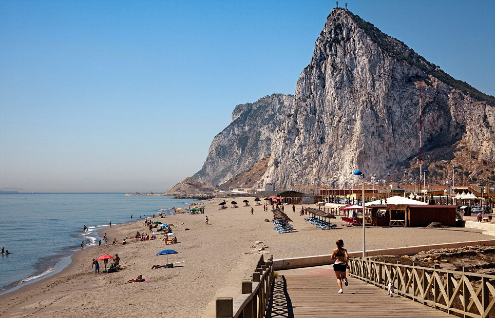 Santa Barbara beach and Rock of Gibraltar La Linea Cadiz Andalusia Spain